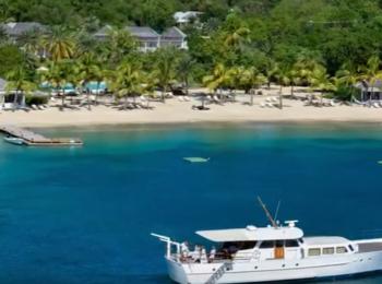 Hurricane Caribbean Island with boats